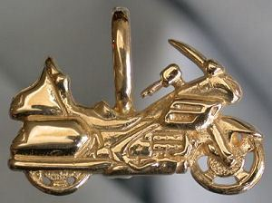 14kt Gold Wing 1800 Motorcycle Pendant